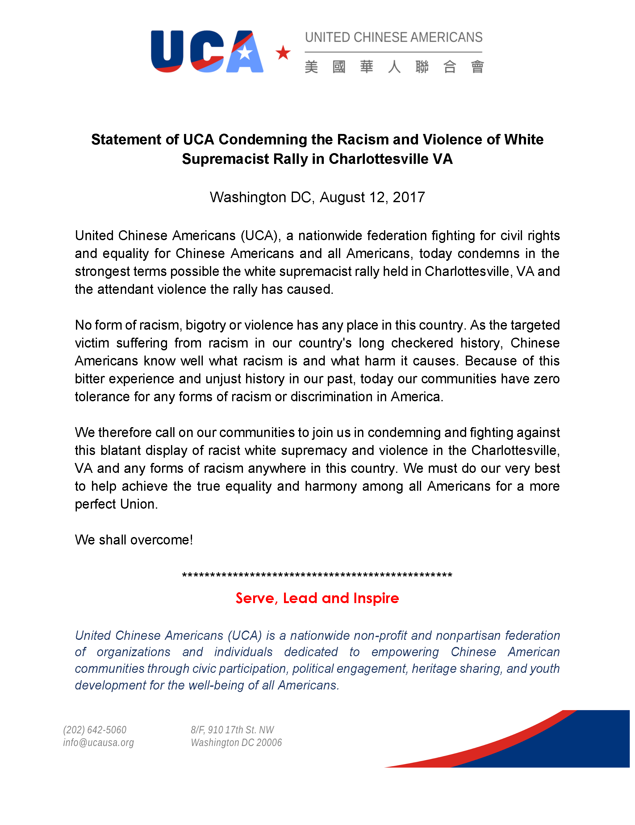 Statement of UCA Condemning the Racism and Violence Rally in VA